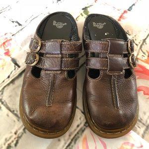 Dr. Martens Brown Leather Slides Size 6